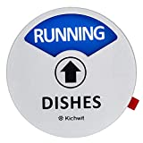 """Kichwit Clean Dirty Dishwasher Magnet with the 3rd Option """"RUNNING"""", Perfect for Quiet Dishwashers, Non-Scratch Strong Magnet Backing & Residue Free Adhesive, 3.5"""" Diameter, Silver"""