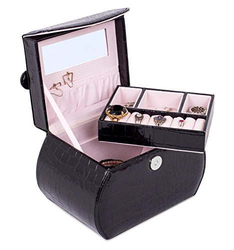 Price comparison product image Internet's Best Patent Leather Purse-Shaped Jewelry Case Organizer / Multi Compartment Jewelry Tray for Earings,  Necklaces & Bracelets / Large Compartment Space Under Jewelry Tray / Black