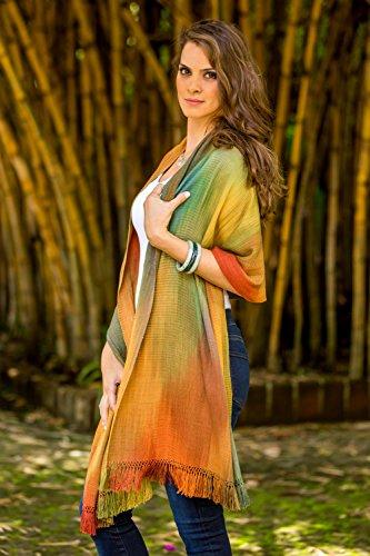 NOVICA Multicolor 100% Bamboo Fiber Wrap Shawl, 'Nature's Ethereal Inspiration'