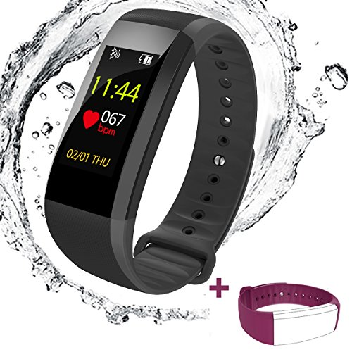 Fitness Tracker Watch, Heart Rate Monitor with Color Screen Waterproof Smart Bracelet...
