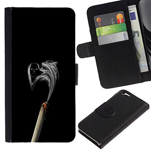 Funny Phone Case // Cuir Portefeuille Housse de protection Étui Leather Wallet Protective Case pour Apple Iphone 6 / Fumée Visage /
