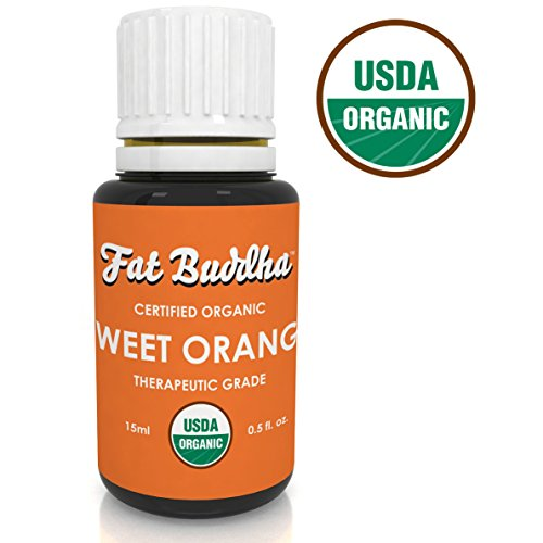 Essential Oil from Fat Buddha, USDA Certified, 100% Pure Therapeutic Grade, Naturally Reduce Fear and Anxiety, Immune Strength, Sustainably Sourced, Small Batch Produced - 15ml (Orange Sweet Organic Essential Oil)