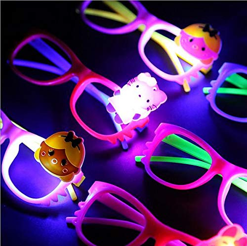 544282aa4b6 UDTEE 6PCS Light Up LED Glow Eyeglasses Frames Multi Color Super Durable  Plastic Shades Fun Party
