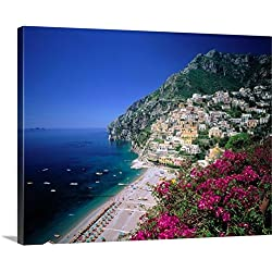 Giovanni Simeone Premium Thick-Wrap Canvas Wall Art Print entitled Italy, Campania, Positano, view over town and coast, Amalfi coast