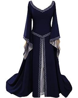 Disfraz Cuello En V Medieval para Mujer Vestido Manga Larga Vintage Costura De Encaje con Manga