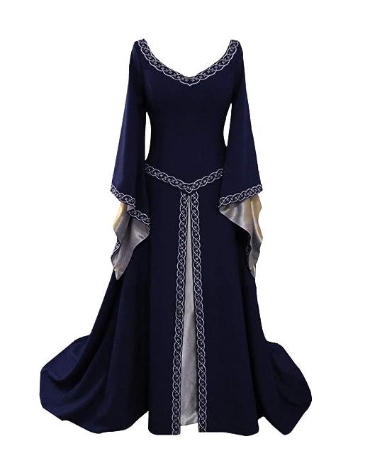 Disfraz Cuello En V Medieval para Mujer Vestido Manga Larga Vintage Costura De Encaje con Manga De Llamarada para Mujeres