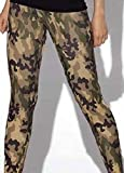 Dark Brown and Green Army Camouflage Hip Hop Dance Leggings (One Size (S/M), Camouflage)