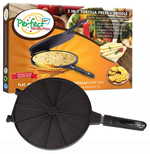 Perfect Tortilla Press and Maker - 2-n-1 Tortilla Machine Dough Smasher & Stovetop Cooker, Make 6, 8, 10 Inch Round Tortillas, Comal also Heats Flatbread and Quesadillas (Perfect Tortilla Pan compare prices)