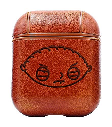 The Family Guy Stewie Head (Vintage Brown) Air Pods Protective Leather Case Cover - a New Class of Luxury to Your AirPods - Premium PU Leather and Handmade exquisitely by Master Craftsmen