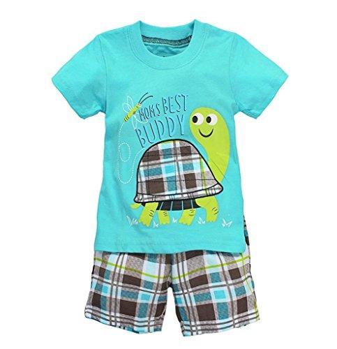 Coralup Toddler Short Sleeve Cotton 2PCS Sets(Light Blue Tortoise,4-5 Years)