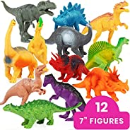 """Li'l Gen Dinosaur Toys for Boys and Girls 3 Years Old & Up – Realistic Looking 7"""" Dinosaurs, Pack of 12 An"""