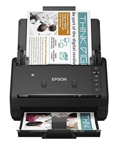 Epson WorkForce ES-500W Wireless Color Duplex Document Scanner for PC and Mac (compare w/ Fujitsu iX500), Auto Document Feeder (ADF)