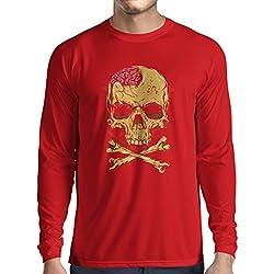 Camiseta de Manga Larga para Hombre La calavera (Medium Rojo Multicolor)