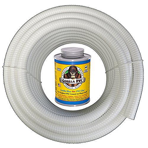 (HydroMaxx White Flexible PVC Pipe, Hose, Tubing for Pools, Spas and Water Gardens. Includes Free 4oz Can of Hot Blue PVC Gorilla Glue. (1 1/2
