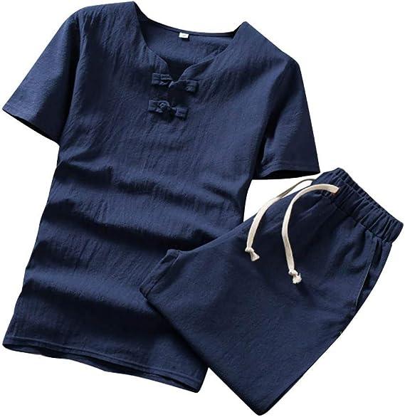 Conjunto de Pijama para Hombre de algodón y Lino, Juego de 2 ...