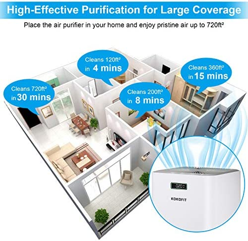 Kokofit Air Purifiers for Home with CADR 320 & H13 True HEPA Filter, Covers 720 Sq Ft Large Room, Quiet Air Cleaner Eliminates 99.97% Odors Allergies Pets Hair Mold Pollen Smoke Dust in Bedroom, White