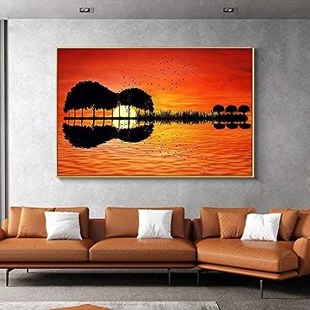 wZUN Reflexión de árboles al Atardecer Lienzo Arte Guitarra Pintura al óleo Carteles e Impresiones Sala de Estar Mural nórdico 50x70cm