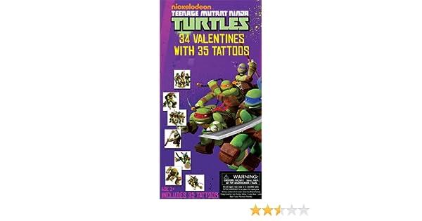 Teenage Mutant Ninja Turtles 34 Valentines Cards with Tattoos