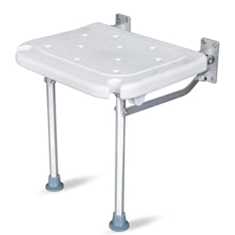 Folding Bathroom Wall Mounted Shower Seat Chair Steel Foldaway Elderly Disabled Mobility Safety Aid Solid Spa Stool Fixture Non-Ironing Home Improvement Bathroom Fixtures