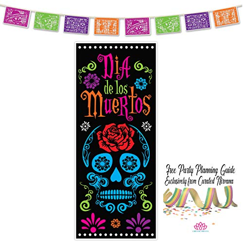 Curated Nirvana Day of the Dead Party Bundle | 1 Door Cover, 1 Picado Banner | Great for Día de Los Muertos Decor, Sugar Skull, Mexican Theme, Halloween -