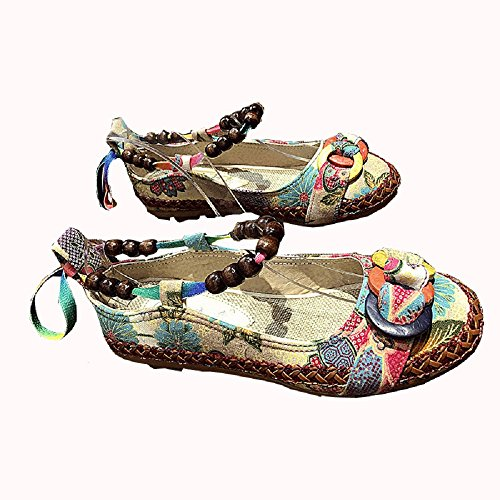 35cff4549019a Women s Boho Loafers Beaded Strappy Cloth Ethnic Embroidered Flowers Flats  Dress Shoes  Amazon.ca  Shoes   Handbags