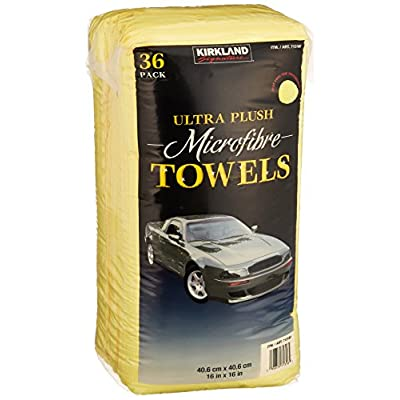 Kirkland Signature Ultra High Pile Premium Microfiber Towels, 36 Count (Pack of 1), Yellow - 713160: Automotive