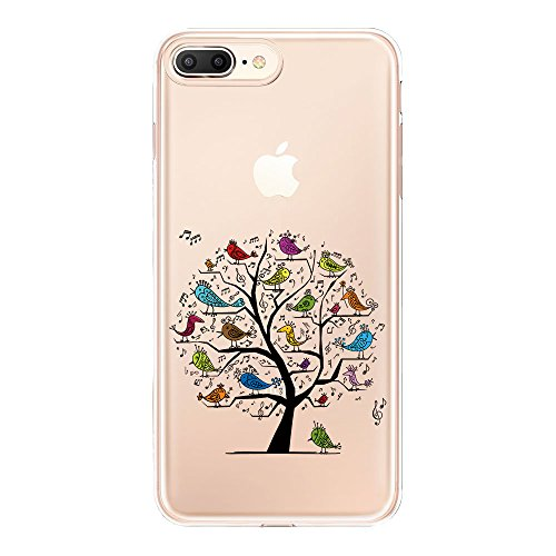 (Lartin Clear Case for iPhone 8 Plus / iPhone 7 Plus / iPhone 6S Plus / iPhone 6 Plus (Tree with Singing Birds))