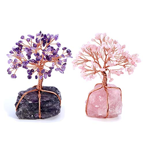 Top Plaza Chakra Healing Crystals Copper Tree of Life Wrapped On Natural Gemstone Quartz Crystal Base Feng Shui Luck Figurine Decoration - Rose Quartz + Amethyst