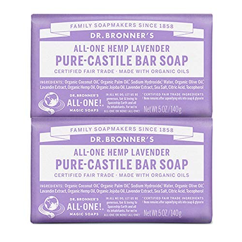 Dr. Bronner's - Pure-Castile Bar Soap (Lavender, 5 ounce, 2-Pack) - Made with Organic Oils, For Face, Body and Hair, Gentle and  Moisturizing, Biodegradable, Vegan, Cruelty-free, Non-GMO