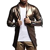 POHOK Clearance!Men's Long Sleeve Coat Luxury Gold Autumn Casual Hip Hop Leather Jacket Top