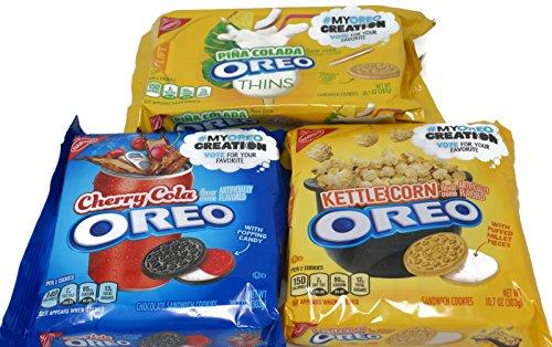 Cherry Kettle - Variety Pack - Nabisco Oreos Sandwich Cookies - Cherry Cola (10.7 oz), Kettle Corn (10.7 oz), Pina Colada (10.1 oz)