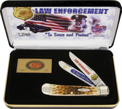 - Case Cutlery CAT-LE Case's Law Enforcement Handle Trapper Pocket Knife with Tru Sharp Surgical Steel Blades, Amber