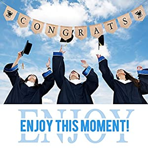 Graduation Party Supplies, Konsait Congrats Banner Graduation Party Banner Bunting Garland Congratulations Sign for Graduation Party by Konsait