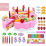 toaster oven sliding door - 37 Pcs Birthday Cake Toy Set Fruit Cake Kids Pretend Play Food Toy Playset with Knife and Fruits for Kids Children- Pink