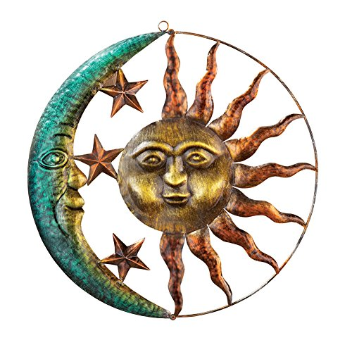 Flower Yard Decor - Collections Etc Artistic Sun and Moon Metal Wall Art for Indoors or Outdoors with Rustic Finish, Brown