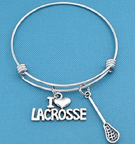 I Love Lacrosse bracelet in stainless steel with silver toned metal lacrosse stick and I love lacrosse charm in silver metal. Lacrosse jewelry.