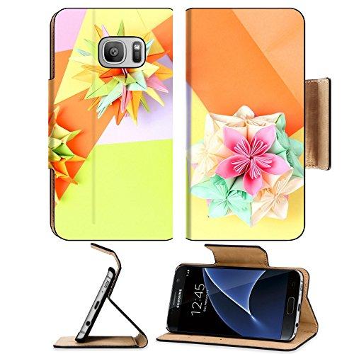 MSD Premium Samsung Galaxy S7 Flip Pu Leather Wallet Case IMAGE ID: 13084263 Colorfull origami kusudamas on bright paper background (Christmas Flowers Kusudama)