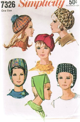 Simplicity 7326 Sewing Pattern Womens Hat Beret Pillbox Vintage 1967