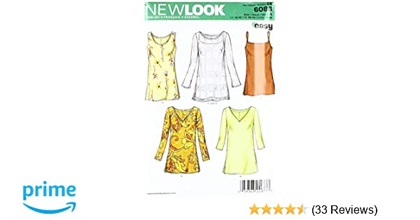 23735577ed530d Amazon.com: New Look Sewing Pattern 6086 Misses Tops, Size A  (10-12-14-16-18-20-22): Arts, Crafts & Sewing