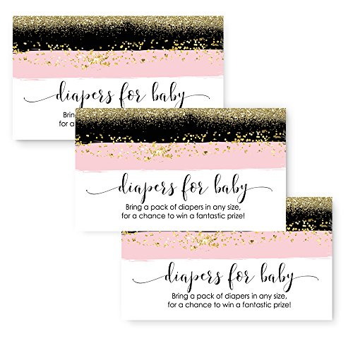 Pink & Gold Baby Shower Diaper Raffle Invitation Insert Card Mod (25 pack) (Couples Baby Shower Invitation)