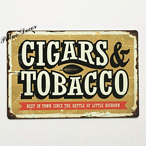 ADILH - \Cigars & Tobacco\ Vintage Metal Sign Poster Plaque 8 X 12 Inches Bar Pub Club Cafe House Home Shop Wall Decor