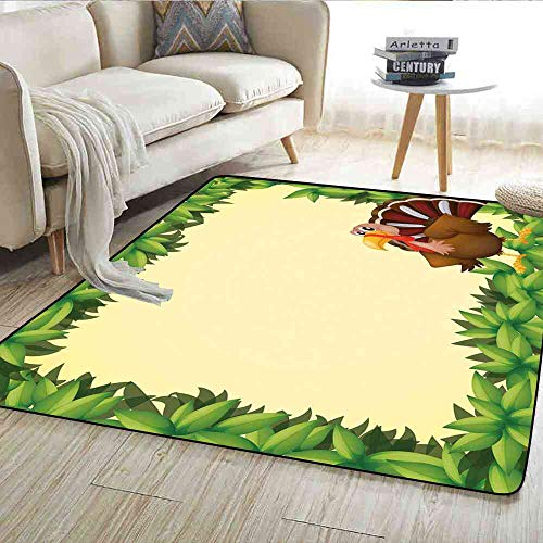 - Rugs Kids Thanksgiving,Turkey with Happy Expression Green Foliage Fresh Leaves,Green Pale Yellow Brown Outdoor Carpet 5'x6'