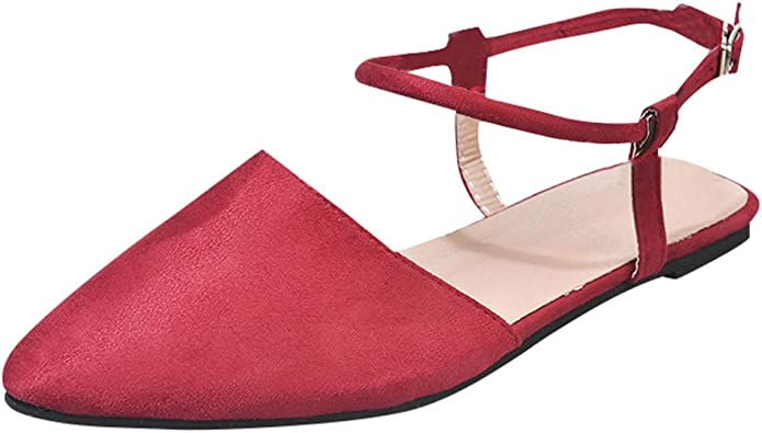 Women Roma Sandals Leather Flat Sandals Pointed Toe Slip On Ankle Buckle Sandals Slingback Sandals for Women /& Girls Casual Summer Roman Shoes