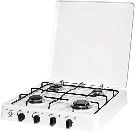 ElectrodomesticosN1 Pack Hornillo a Gas Orbegozo fo 4550 Blanco, 4 Fuegos + Regulador de Gas butano HVG, Tubo Manguera 0,8 Metros, Abrazaderas