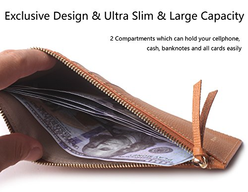 Borgasets Ultra-Thin Women's Wallet RFID Blocking Leather Credit Card Holder Zipper Purse for Phone Brown by Borgasets (Image #5)