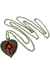OOOUSE Retro Bronze Chain Red Heart Vintage Palace Pendant Angel Wings