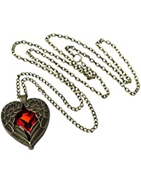 Retro Bronze Chain Red Heart Vintage Palace Pendant Angel Wings