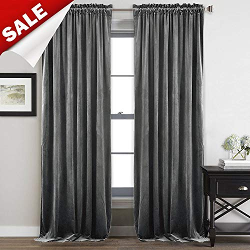 StangH 108-inch Long Grey Velvet Curtains - Heavy-Duty Blackout Velvet Drapes Heat & Chill Resistant Window Panels for Villa/Patio Door, 52 by 108-inch, 2 Pcs (Length 108 Window Panels)