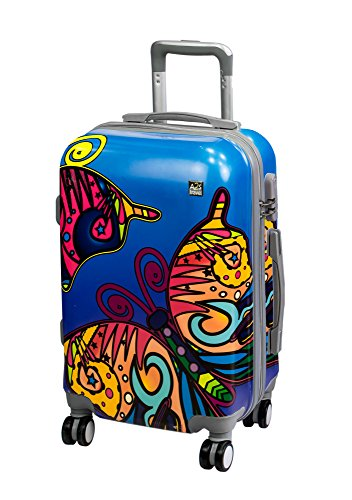 Butterfly Hard A2S on Durable 55x35x22cm Polar Paint 8 Suitcase Cabin amp; Luggage Bear Bag Wheels Shell Lightweight Airplanes with Spinner Carry qABRq
