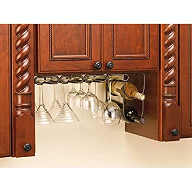 Rev-A-Shelf - 3450-11ORB - 11 in. Oil Rubbed Bronze Under Cabinet Quad Wine Glass Holder